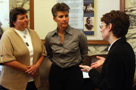 After the hearing before the 9th U.S. Circuit Court of Appeals in San Francisco, Lambda Legal attorney Tara Borelli (right) speaks with Deanna Pfleger (center), an Arizona Game and Fish Department peace officer, and Pfleger's partner, Mia LaBarbara. (Photo by Channing Turner/Cronkite News Service)