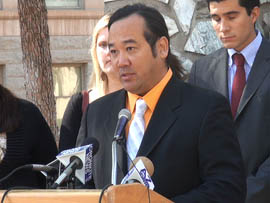John Baba describes what happened when his son was beaten by bully at school. He spoke in support of a bill by Rep. Kimberly Yee, R-Phoenix, that would require schools to develop procedures for addressing bullying and that would punish school employees who fail to file reports about incidents of bullying. (Cronkite News Service photo)
