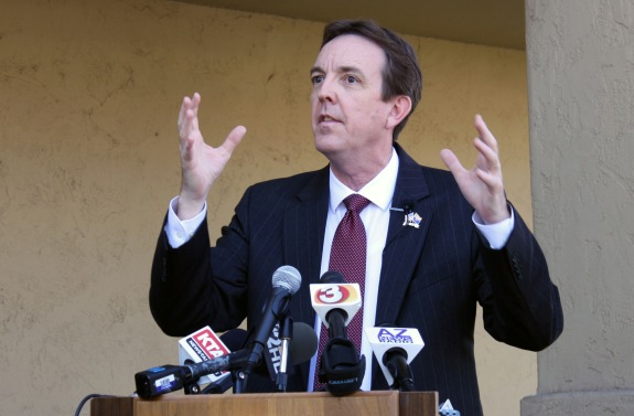 Arizona Secretary of State Ken Bennett discusses cases of alleged voter fraud during a news conference dealing with National Voter Registration Day. (Cronkite News Service Photo by Ken Bennett)