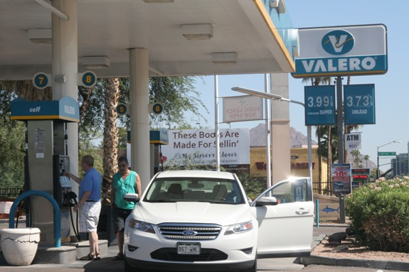 While gasoline prices in California spiked to over $5 a gallon recently, the average price in Arizona on Tuesday was $3.67 per gallon.  (Cronkite News Service Photo by Sarah Pringle)