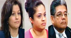 Catherine Miranda, her step-daughter Maritza Saenz and Ben Miranda (from court video)