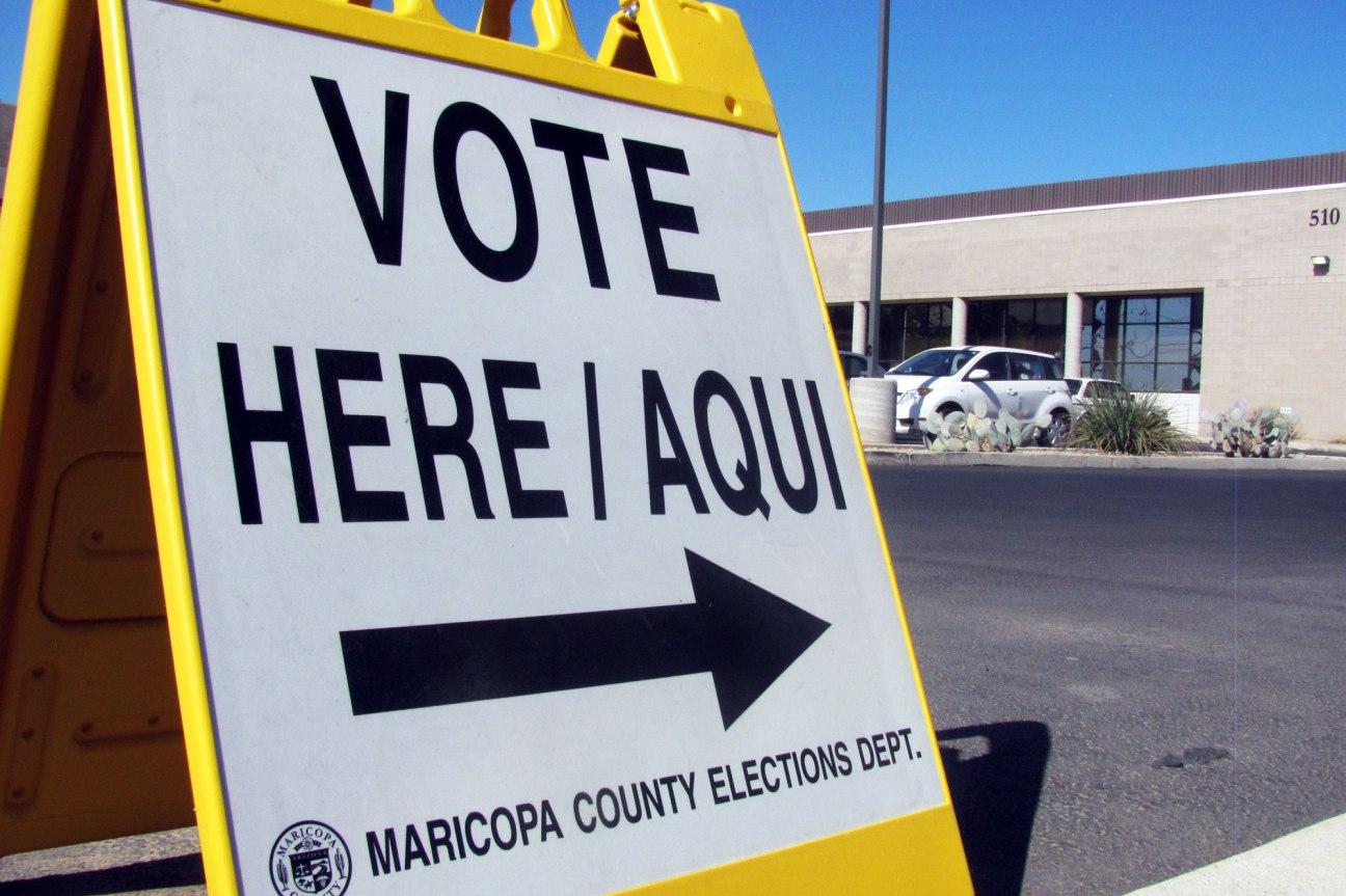 A sign outside Maricopa County Recorder's Office tabulation center. (Cronkite News Service Photo by Natasha Khan)