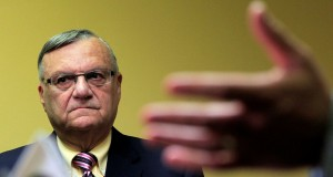 In this April 3, 2012 file photo, Maricopa County Sheriff Joe Arpaio listens in during a news conference in Phoenix. Sheriff Arpaio has been in office 20 years, mainly by being tough on crime and, more recently, illegal immigration. But the self-proclaimed toughest sheriff in America is in the middle of the most difficult re-election fight of his career, largely because those themes are being turned against him. (AP Photo/Ross D. Franklin, File)