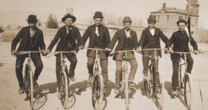 Members of a Tucson cycling club pose on their velocipedes for a photo in 1893.