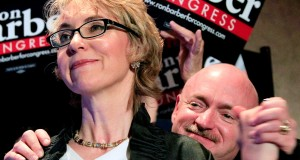 In a Tuesday, June 12, 2012 file photo, Gabrielle Giffords, D-Ariz., left, and husband Mark Kelly celebrate a Ron Barber victory an election to fill former Rep. Giffords seat, as he addresses supporters at a post election event, in Tucson, Ariz. Giffords and her husband on Tuesday, Jan. 8, 2014 launched a political action committee aimed at curbing gun violence as Tucson residents paused to mark the anniversary of the shooting rampage there. (AP Photo/Ross D. Franklin, File)