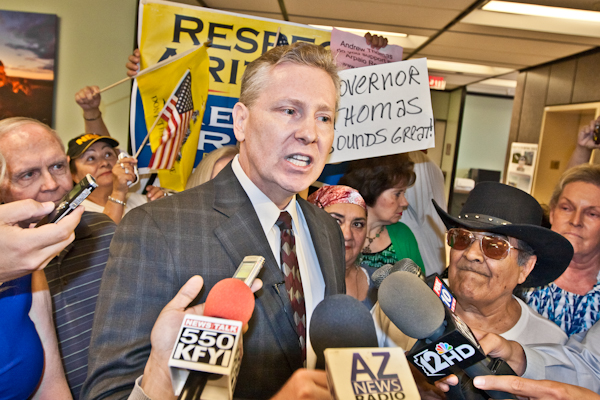 Disbarred former Maricopa County Attorney Andrew Thomas addresses questions about voters' tolerance for a politicians so wrapped in controversy. (Photo by Evan Wyloge/Arizona Capitol Times)
