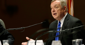 U.S. Sen. Dick Durbin (D-Ill.) speaks during a forum on immigration on, Friday, Aug. 2, 2013, in Ames, Iowa. (AP Photo/Charlie Neibergall)