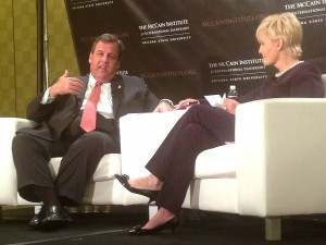 New Jersey Gov. Chris Christie discusses human trafficking and other issues Friday with Cindy McCain during an event hosted by Arizona State University's McCain Institute for International Leadership. (Cronkite News Service Photo by Larissa Garza)