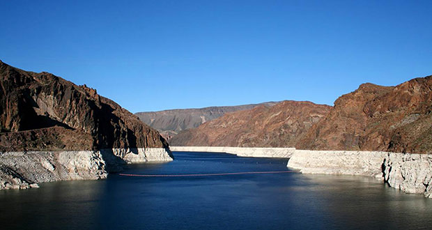 Lingering drought and demand from growing cities have lowered water levels on Lake Mead behind Hoover Dam. The U.S. Interior Department could declare a shortage on the Colorado River as early as 2017. (U.S. Geological Survey Photo)