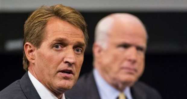 Sen. Jeff Flake, R-Ariz., left and Sen. John McCain, R-Ariz. (AP Photo/The Arizona Republic, Tom Tingle)