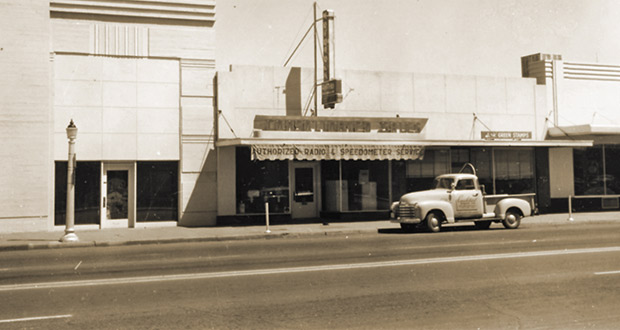 "Cornforth's first store offering ""authorized radio and speedometer service""  at 624 W. Washington St., Phoenix, in 1953."