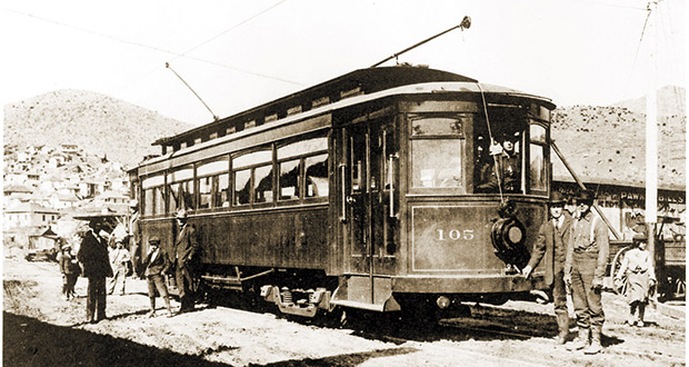The Warren/Bisbee Street Railway trolley pauses at one of its stops in Lowell, c.1910.