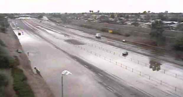 A screen image from an ADOT Phoenix freeway camera shows the extent of some of the flooding during the record rainfall on Sept. 8.