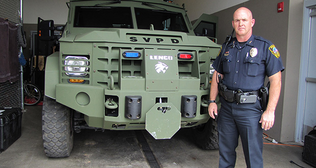 The Sierra Vista Police Department put nearly $40,000 of asset forfeiture money from a federal program toward this $277,000 LENCO BearCat Tactical Vehicle. Deputy Chief Adam Thrasher said the budget approved by the city wouldn't pay for an armored vehicle. (Cronkite News Photo by Emily Mahoney)