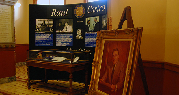 A temporary exhibit dedicated to former Gov. Raul Castro sits in the Arizona Capitol Museum. (Photo by Rachel Leingang, Arizona Capitol Times)