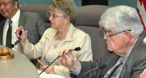 State schools chief Diane Douglas at a meeting of the state Board of Education chaired by Greg Miller. (Capitol Media Services file photo by Howard Fischer)