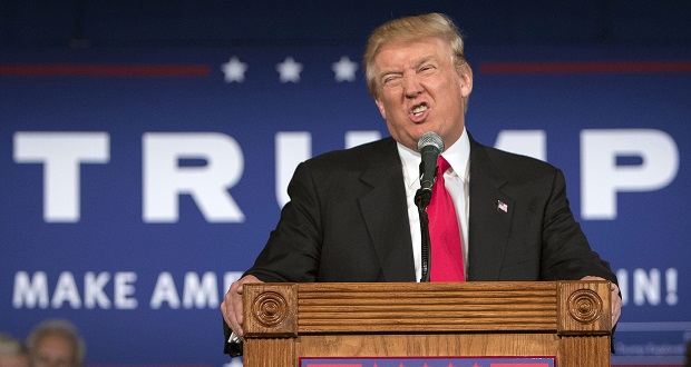 Republican presidential hopeful Donald Trump speaks at his South Carolina campaign kickoff rally in Bluffton, S.C., Tuesday, July 21, 2015. (AP Photo/Stephen B. Morton)