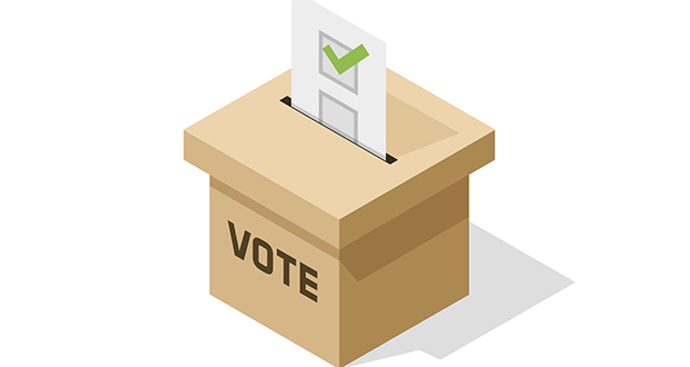 Voting ballot box isometric vector icon with paper sheet