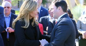 Gov. Claudia Pavlovich, Sonora, Mexico, and Gov. Doug Ducey, talk after a press conference Nov. 29 to announce Lucid Motors has agreed to open a plant in Casa Grande.