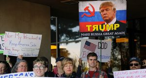 Protestors demonstrate outside the Arizona Capitol on December 19 ahead of the state's Electoral College electors' vote in favor of Donald Trump for president. (Photo by Luige del Puerto, Arizona Capitol Times)