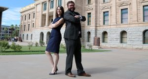 Marilyn Rodriguez and Sam Richard have taken the risky step of opening a lobbying firm that caters to progressive interests in a state in which the GOP dominates. (Photo by Rachel Leingang/Arizona Capitol Times)