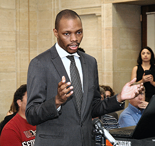 Reginald Bolding tells members of the State Board on Geographic and Historic Names they should move immediately to strip the designation of Jefferson Davis Highway from wherever it exists on Arizona maps and other documents. (Capitol Media Services photo by Howard Fischer)