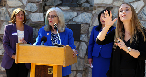 Rep. Lela Alston, D-Phoenix, discusses how new technology available in the Arizona House and Senate will improve accessibility for her and other people who are deaf or hard of hearing at the Capitol on January 11, 2018. (Photo by Rachel Leingang, Arizona Capitol Times)