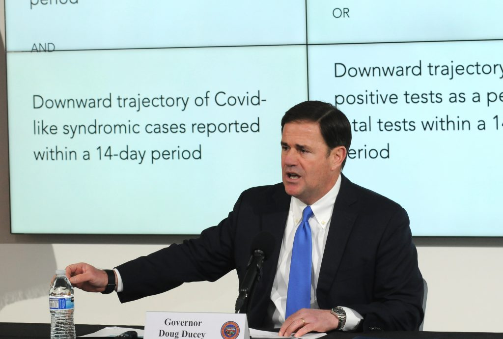 Gov. Doug Ducey discusses COVID-19 and the state's response at a press conference last week. (Capitol Media Services photo by Howard Fischer)