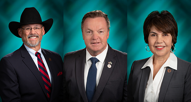 From left are Rep. Mark Finchem, R-Oro Valley, former Rep. Anthony Kern, and Rep. Charlen Fernandez, D-Yuma.