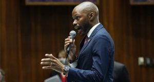 """House Minority Leader Reginald Bolding, D-Laveen, explains his """"no"""" during a vote on the Arizona budget at the Arizona Capitol on June 24, 2021.(AP Photo/Ross D. Franklin)"""