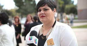 Rep. Raquel Terán speaks with the media at the Arizona Capitol on Jan. 14, 2019. The Maricopa County Board of Supervisors appointed Terán to fill the Senate vacancy for Legislative District 30 on Sept. 15, 2021. (Photo by Gage Skidmore/Flickr)
